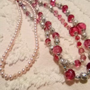 Handmade Pink Beaded Necklaces Set of 2